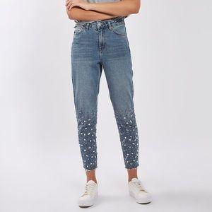 Topshop Gem Hem Moto Embellished raw hem jeans